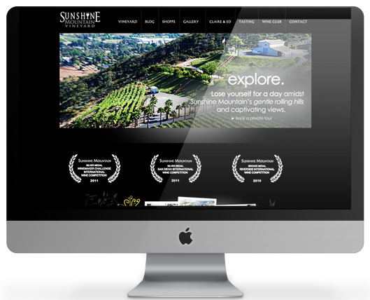 Website for Sunshine Mountain Vineyard, built on WordPress CMS