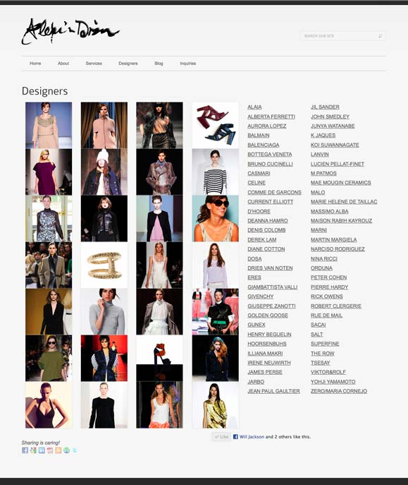 The designer listings page for Alexis Dizon, personal shopper.
