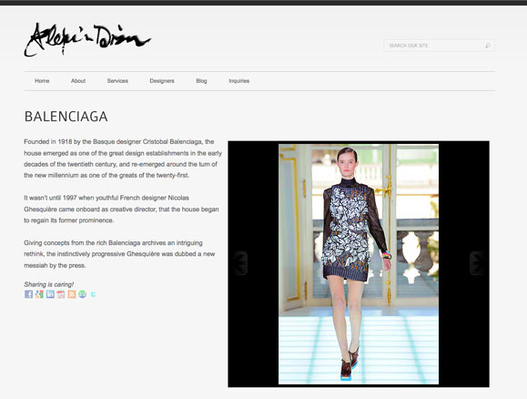 A designer page for Alexis Dizon, personal shopper.