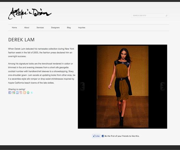 A designer page for Alexis Dizon, personal shopper.