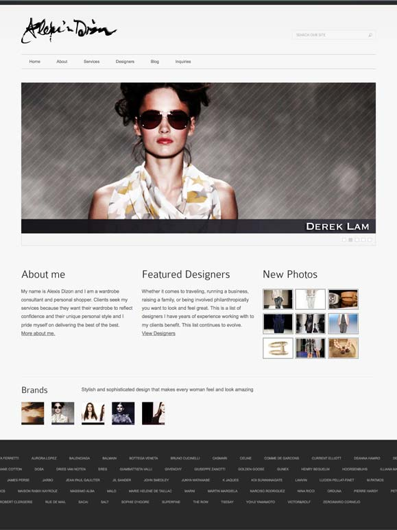 The homepage for Alexis Dizon, personal shopper.