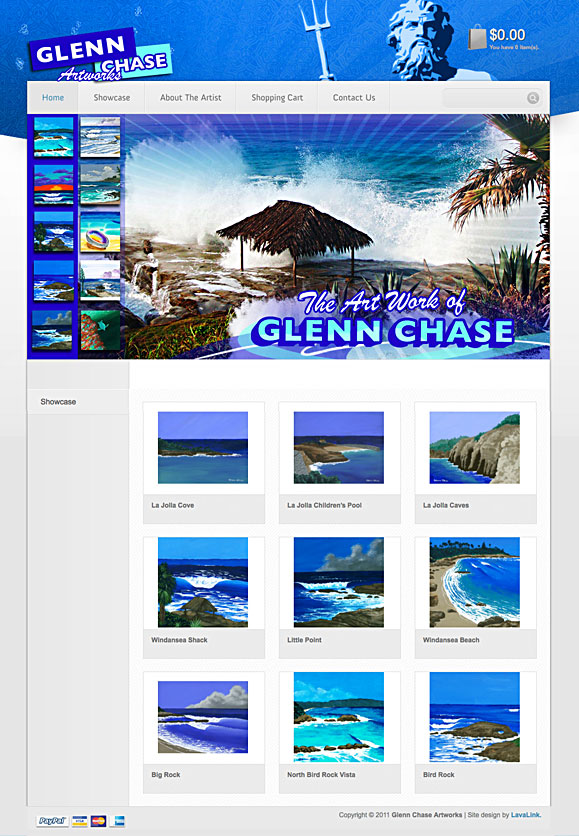 The homepage for Surf Artist Glenn Chase.