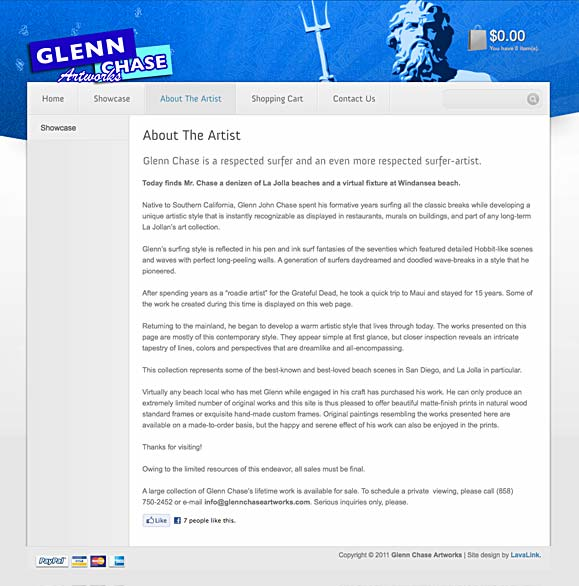 The about page for Surf Artist Glenn Chase.