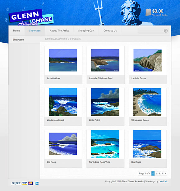 The showcase page for Surf Artist Glenn Chase.