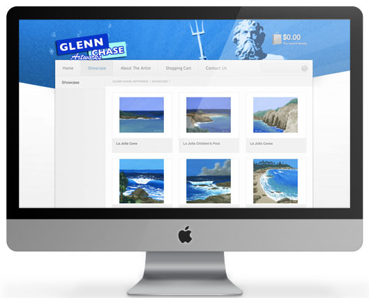 Website for Surf Artist Glenn Chase, built on WordPress CMS