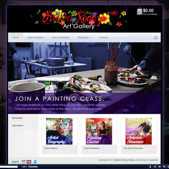 The homepage for the Heather Roddy Gallery, fine artist.