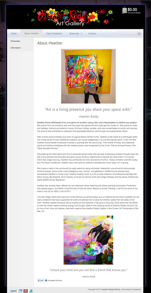 The about page for the Heather Roddy Gallery, fine artist.