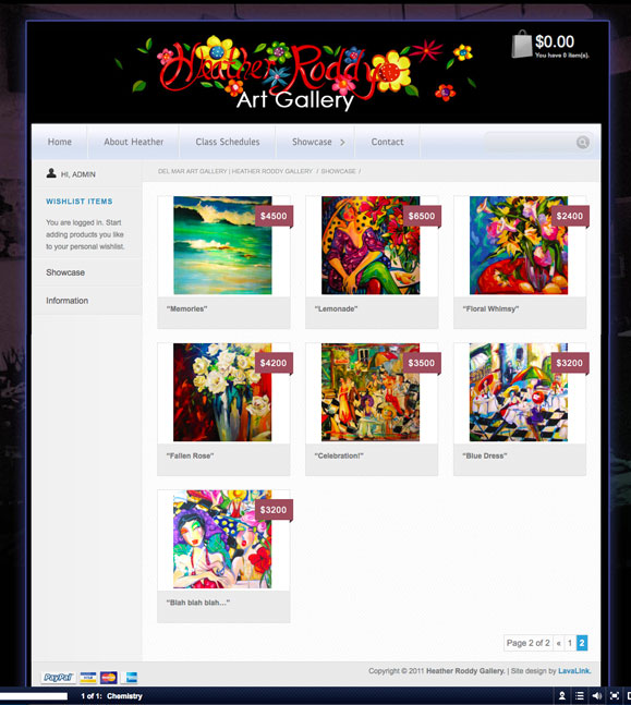 The showcase page for the Heather Roddy Gallery, fine artist.