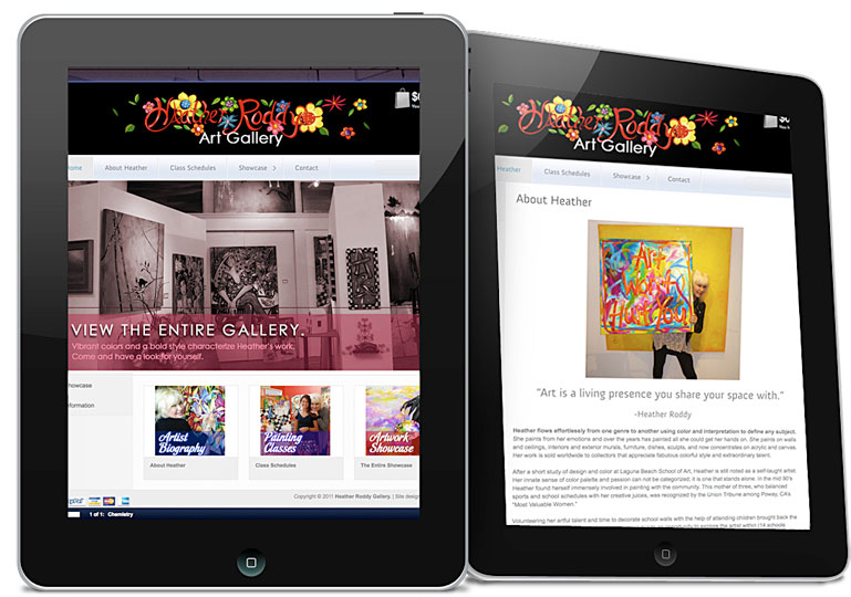 Website for the Heather Roddy Gallery, built on WordPress CMS