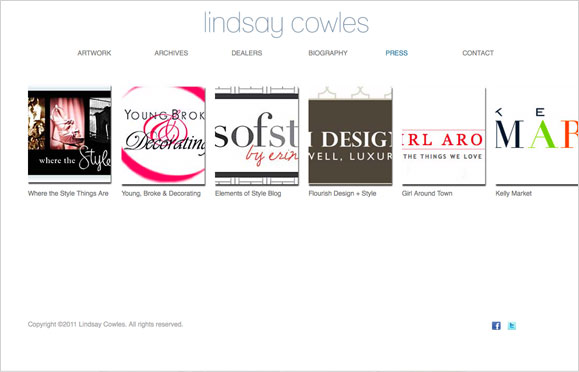 The press page for Lindsay Cowles, contemporary artist.