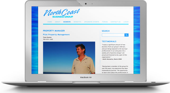 Website for North Coast Business Group, built on WordPress CMS