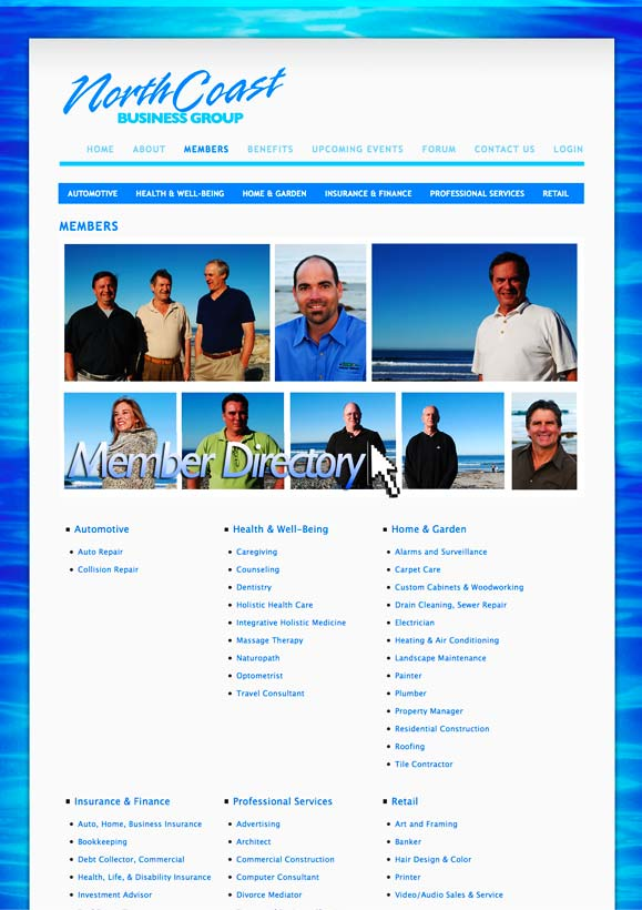 The membership page for North Coast Business Group.