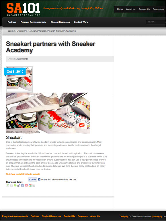 A blog page for non-profit organization, Sneaker Academy.