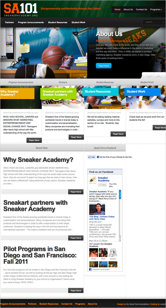 The homepage for the non-profit organization, Sneaker Academy.