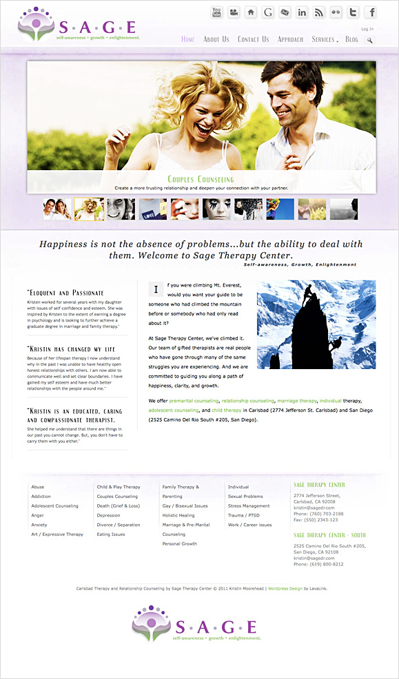The homepage for Sage Therapy Center