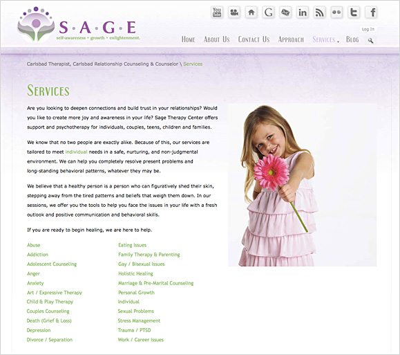 The services page for Sage Therapy Center