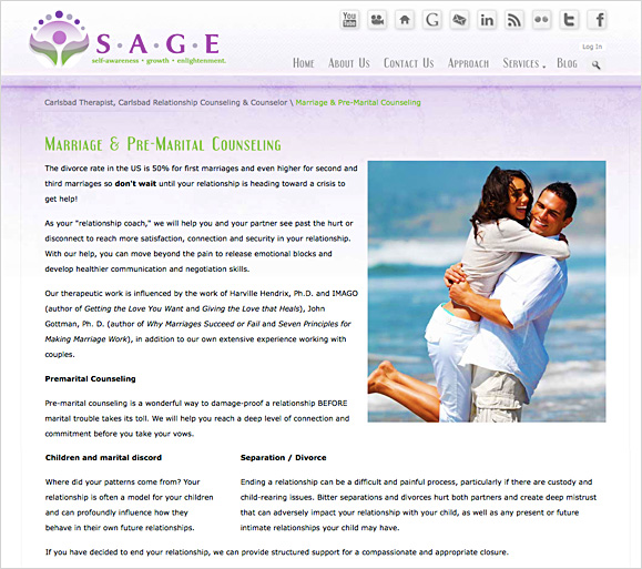 The marriage & pre-marital counseling page for Sage Therapy Center