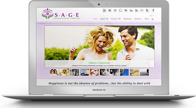 Website for Sage Therapy Center, built on WordPress CMS