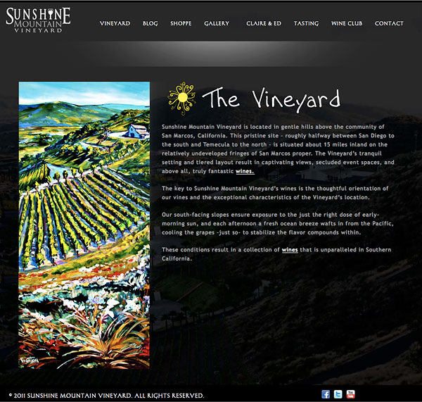 The vineyard at Sunshine Mountain Vineyard