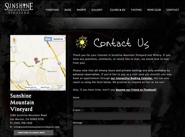 The contact page for Sunshine Mountain Vineyard
