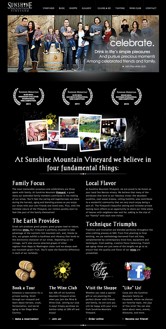 The homepage for Sunshine Mountain Vineyard.
