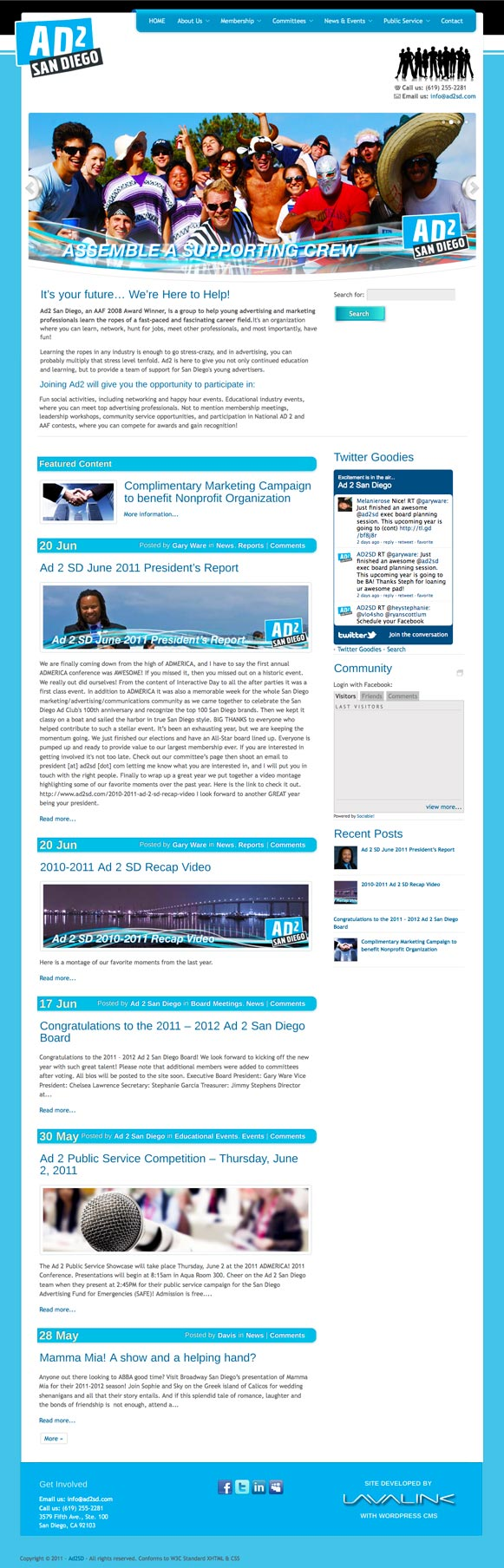The homepage for Ad2 San Diego, advertising organization.