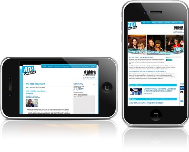Website for Ad2 San Diego, built on WordPress CMS