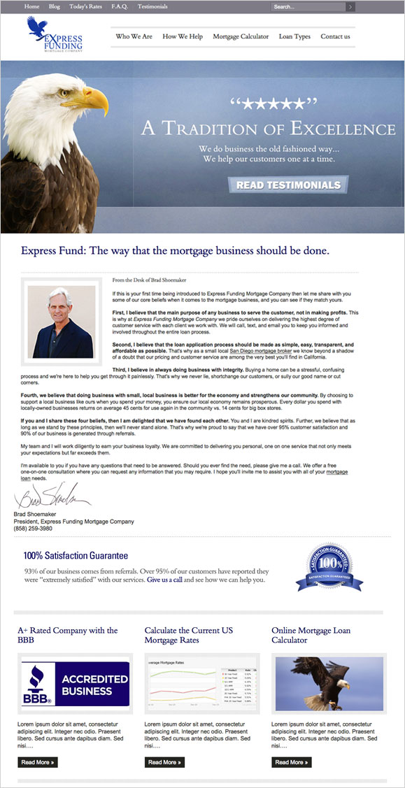 The homepage for Express Funding Mortgage Company.