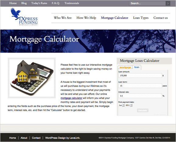 The press page for Express Funding Mortgage Company.