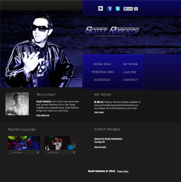 The homepage for Scott Roberts, musician.