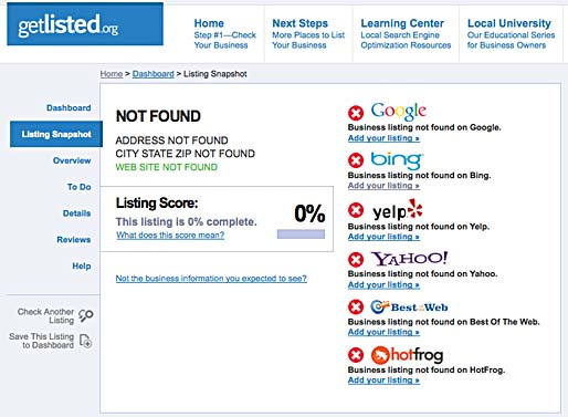 Verify your business on the internet with each search engine.