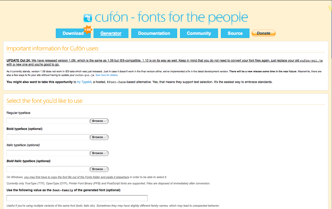 Choose a cufon font to upload to your WordPress site.