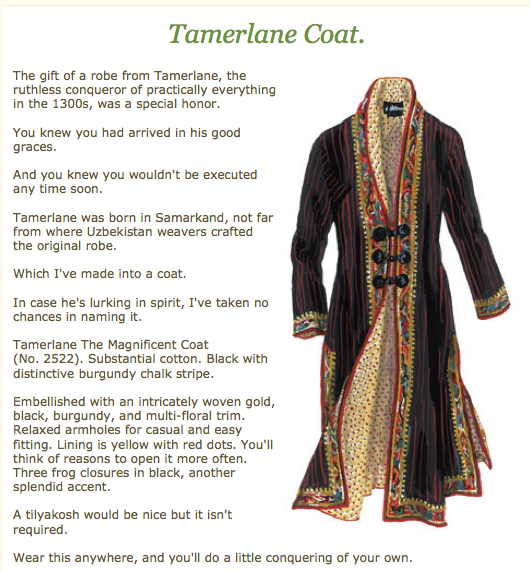 The Tamerlane Coat - another example of brilliant copywriting