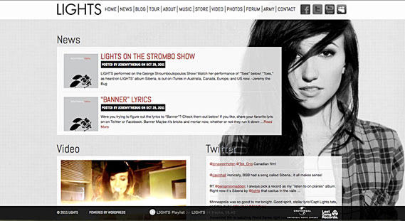 Lights musician's new website is beautifully designed on WordPress.