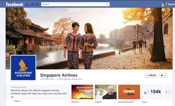 Facebook timeline image for Singapore Airlines.