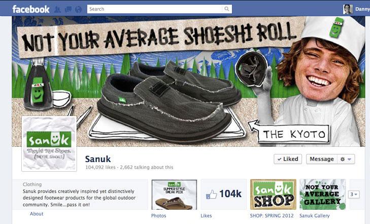 Facebook timeline image for Sanuk Footwear.