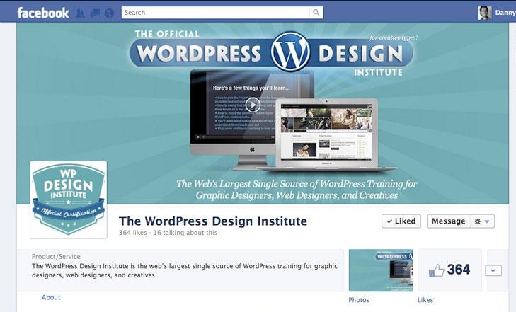 Facebook timeline image for The WordPress Design Institute.