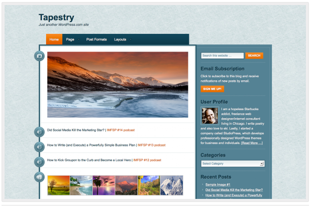 Tapestry theme for WordPress.