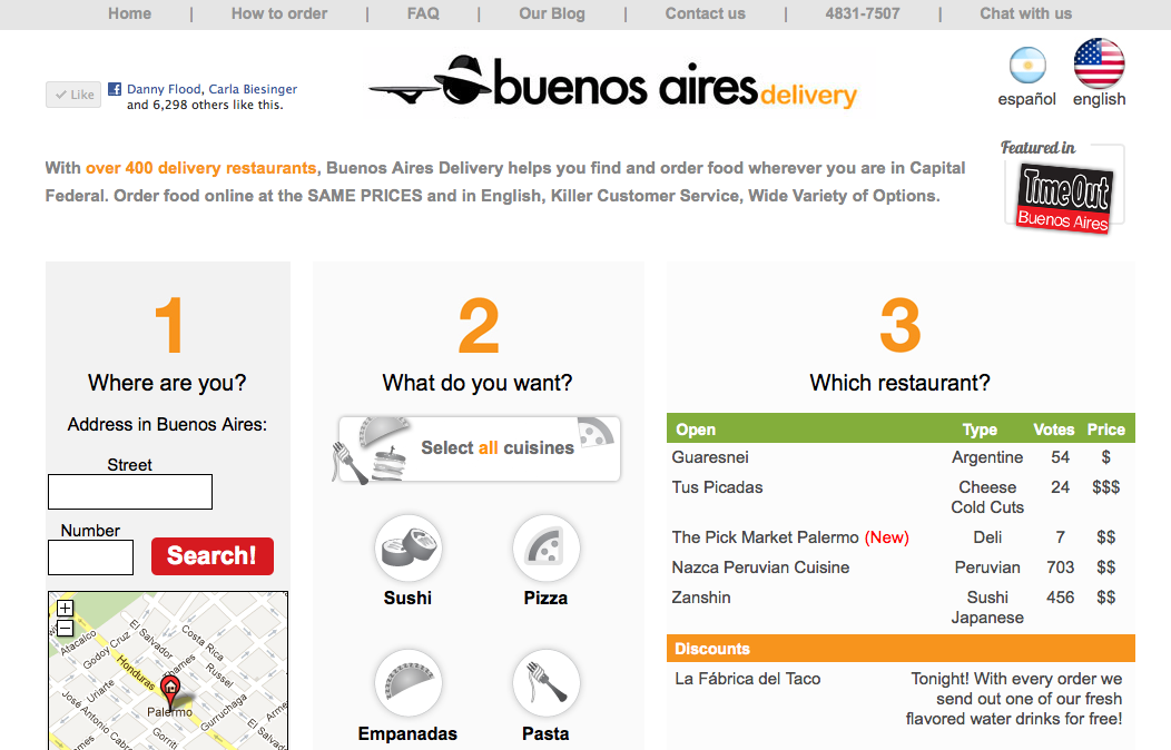 The website for Buenos Aires Delivery.
