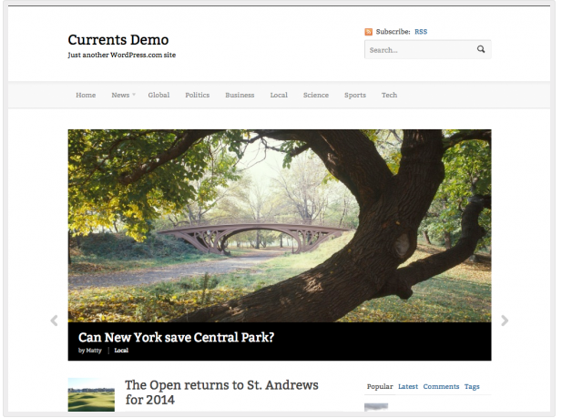Currents theme for WordPress.