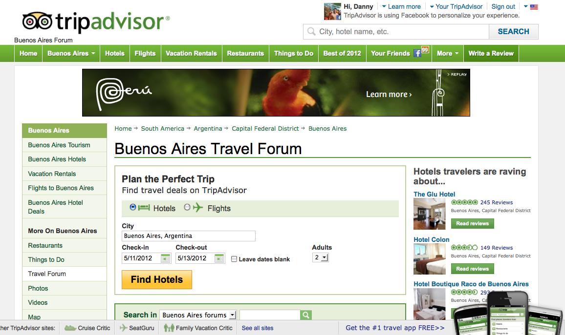 The Buenos Aires Trip Advisor forum.